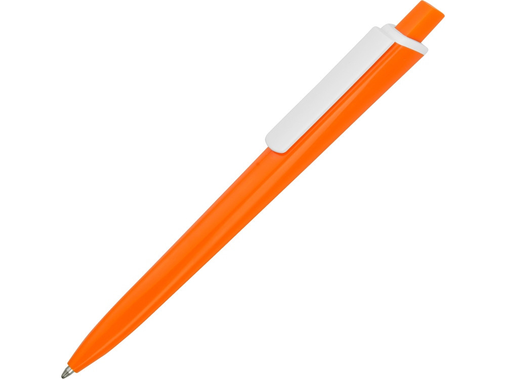 Ручка пластиковая трехгранная шариковая Lateen, оранжевый/белый