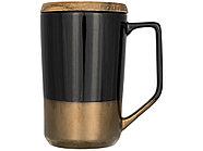 Керамическая кружка Tahoe для чая и кофе с деревянной крышкой, черный, фото 3