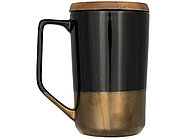 Керамическая кружка Tahoe для чая и кофе с деревянной крышкой, черный, фото 4