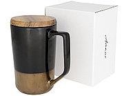Керамическая кружка Tahoe для чая и кофе с деревянной крышкой, черный, фото 6