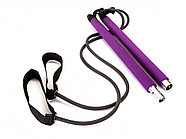 Палка гимнастическая с эспандерами Pilates Studio, черный/фиолетовый, фото 2