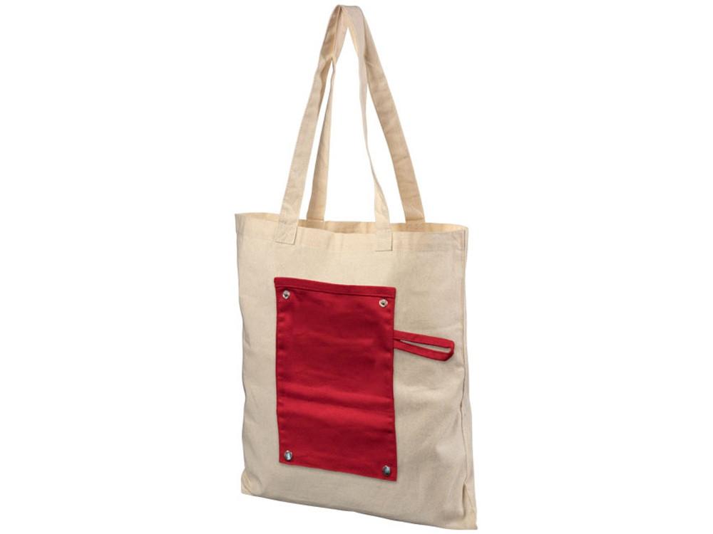 Хлопковая рулонная сумка-тоут на кнопках, красный