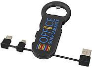 Открывалка для бутылок Phial с зарядным кабелем 3-в-1, черный, фото 5