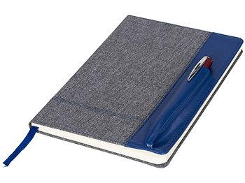 Блокнот А5 с кожаной вставкой, серый/синий