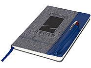 Блокнот А5 с кожаной вставкой, серый/синий, фото 5