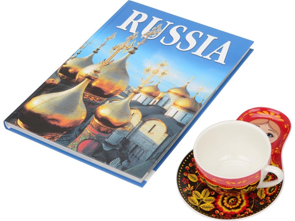 Набор Моя Россия: чайно-кофейная пара Матрешка, хохлома и книга Россия на англ. языке