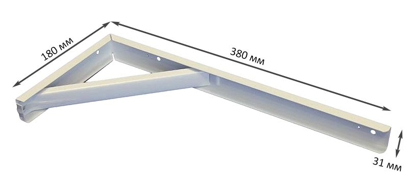Кронштейн разборный с упором белый 380мм