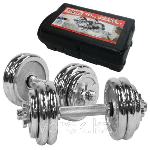 Набор хромированных гантелей в кейсе York Fitness 15 кг - фото 1
