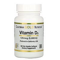 California Gold Nutrition, Витамин D3, 125 мкг (5000 МЕ), 90 рыбно-желатиновых мягких таблеток