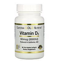 California Gold Nutrition, витамин D3, 50 мкг (2000 МЕ), 90 рыбно-желатиновых капсул