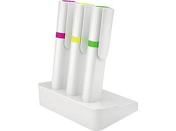 Набор текстовых выделителей на подставке myBASE: пурпурный, желтый, зеленый