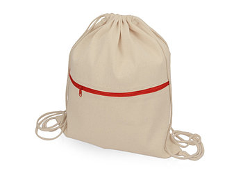 Рюкзак-мешок хлопковый Lark с цветной молнией, натуральный/красный