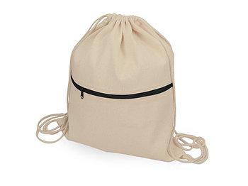 Рюкзак-мешок хлопковый Lark с цветной молнией, натуральный/черный