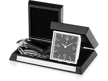 Часы настольные Линкольн, черный/серебристый (Р)