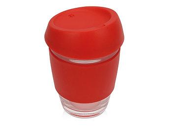 Стеклянный стакан Monday с силиконовой крышкой и манжетой, 350мл, красный
