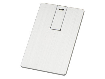 Флеш-карта USB 2.0 64 Gb в виде металлической карты Card Metal, серебристый