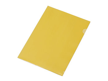 Папка-уголок прозрачный формата А4  0,18 мм, желтый глянцевый