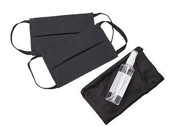 Набор средств индивидуальной защиты в сатиновом мешочке Protect Plus, черный