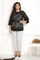 Женский осенний кружевной нарядный большого размера брючный комплект Solomeya Lux 784 черный 48р.