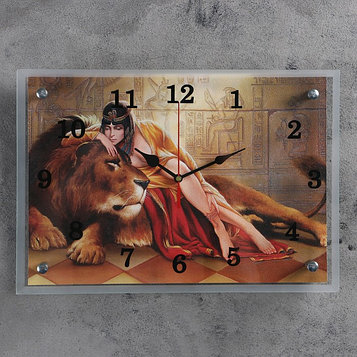 """Часы настенные, серия: Животный мир, """"Царица со львом"""", 25х35  см, микс"""