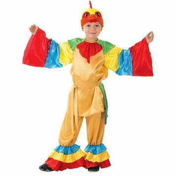 """Детский карнавальный костюм """"Золотой петушок"""", рубашка, брюки, хвост, шапка, р-р 32, рост 128 см"""