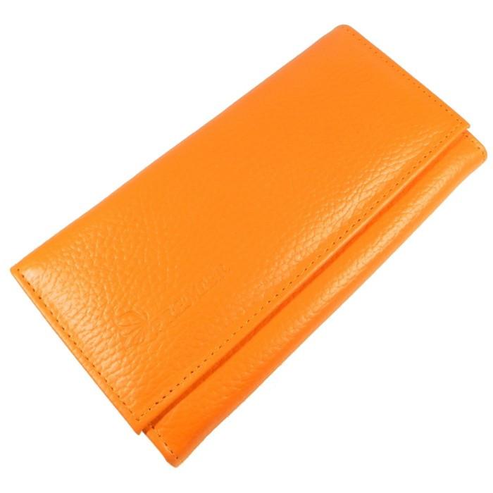 Кошелёк женский, 3 отдела для купюр для купюр, для кредитных карт, для монет, цвет оранжевый