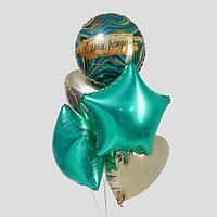 """Букет из фольгированных шаров """"С Днем Рождения. Мрамор"""" набор 5 шт., цвет бирюза, шампан"""