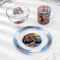 Набор посуды 'Вспыш и чудо-машинки', 3 предмета