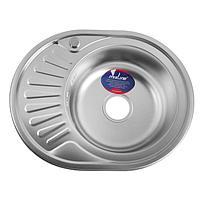 """Мойка кухонная MIXLINE 532303, врезная, 0.8 мм, 57х45х18 см, левая, вып. 3 1/2"""", с сифоном"""