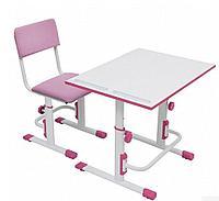 Комплект парта-трансформер + стул Polini kids Simple белый-розовый