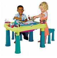 Столик KETER CREATIVE для детского творчества и игры с водой и песком + 2 табуретки арт 17184184