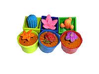 Цветочки, животные и кактусы растушки в горшочке