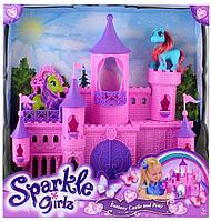 Большой, розовый замок для пони с фигуркой пони