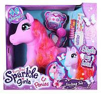 Большая розовая Пони с длинными волосам и аксессуарами в наборе. Укрась пони