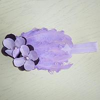 Полоска на голову Перьевая фиолетовая с цветочками