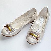 Туфли MiniCan молочные с брошкой арт101573