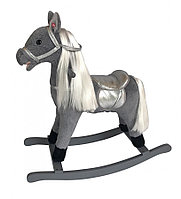 Качалка-лошадка Pituso длинная грива серый GS3043