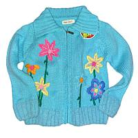 Кофта для девочки голубая вязаная в цветы 3- 10лет (3-4 года)