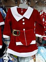 Костюм для девочки новогодний Дед Мороз, размер 1-2 года