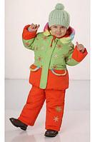 Комплект зимний для девочки Настенька, цвет салатовый/апельсин, 80см