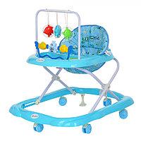 BAMBOLA Ходунки ЗВЕРУШКИ (6 пласт.колес,игрушки,муз) . BLUE Голубой