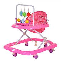 BAMBOLA Ходунки ЗВЕРУШКИ (6 пласт.колес,игрушки,муз) Розовый/Фиолетовый