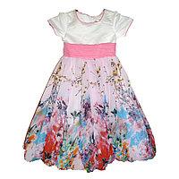 Платье бальное шифоновое с розовым поясом арт1883, 8-9 лет