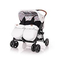 Прогулочная коляска для двойни Lorelli TWIN + накидка на ножки Серо-черный / Grey&Black CROS 2087