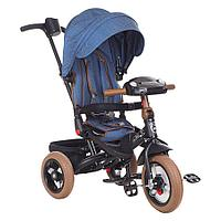"Велосипед 3-х колесный Mini Trike T400-17 JEANS (12""/10"") TRANSFORMER collection Jeans Dark Blue"