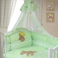 Комплект в кровать Золотой гусь Мишка-Царь (8 предметов), цвет зеленый