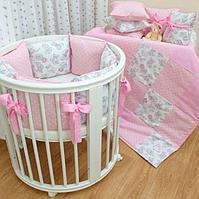 Комплект в кроватку Первенец (5 предметов) Винтажные мишки арт 69-5 розовый