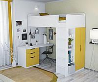 Кровать - чердак Polini Simple с письменным столом и шкафом белый-солнечный