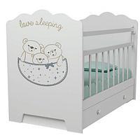 Детская кроватка ВДК Love Sleeping с маятником, с ящиком Белый
