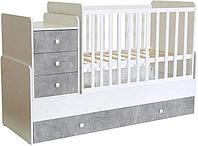 Кровать - трансформер детская Polini kids Simple 1111 белый-бетон